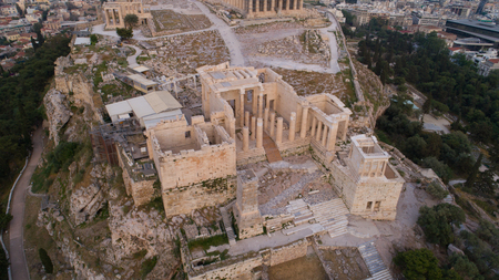 Aerial view of Acropolis of Athens ancient citadel in Greece