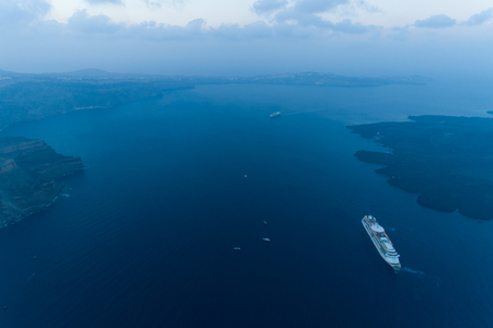 Aerial view of famous Greek resort Thira before sunrise.
