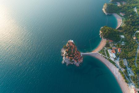 Aerial view of Sveti Stefan island in Budva Stock Photo