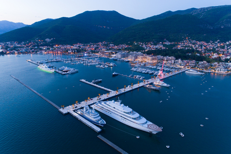 Aerial view of Porto Montenegro in Tivat at dusk