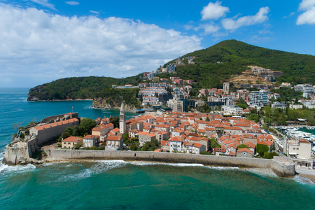 Aerial View of Old Budva in Montenegro.