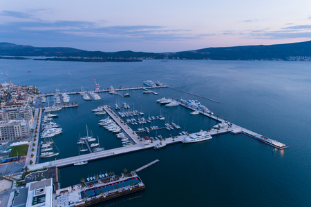 Aerial view of Porto Montenegro at dusk. Tivat Stockfoto