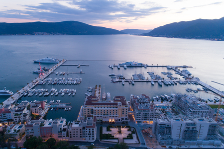 Aerial view of Porto Montenegro at dusk. Tivat