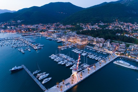 Aerial view of Porto Montenegro at dusk. Tivat 版權商用圖片