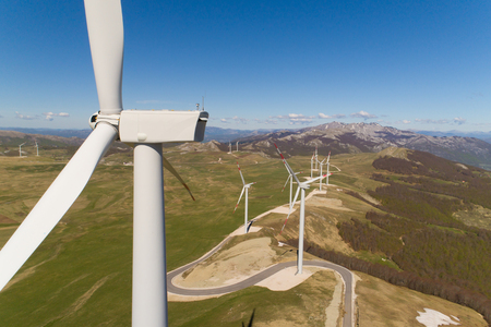 Aerial view on the windmills on the hills Stockfoto