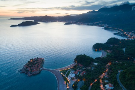 aerial view of  island in Budva at dusk, Montenegro Stockfoto