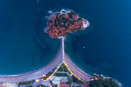 aerial view of island in Budva at dusk, Montenegro