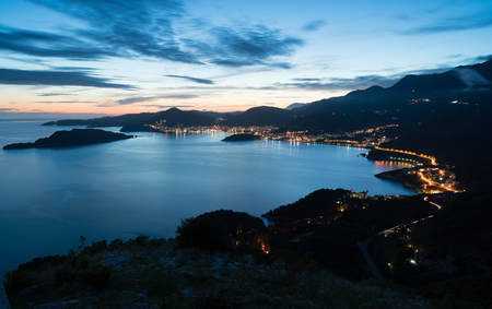 night landscape with the city of Budva, Montenegro