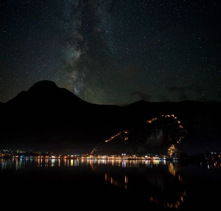 Milky Way over the old town of Kotor in Montenegro Stok Fotoğraf