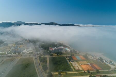 aerial view of the city of Bar under a low cloud, Montenegro