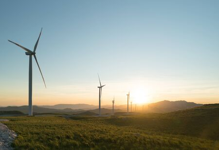 Windmills converting wind energy into electricity, sunset