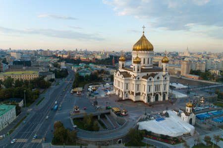 aerial view of the Christ the Savior Cathedral in Moscow Banque d'images