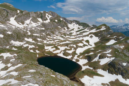 Manito lake in Montenegro in the spring, aerial view Banque d'images