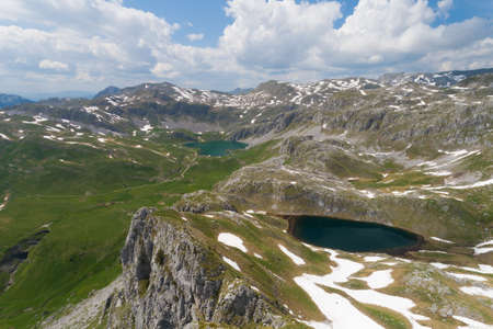 Kapetanovo and Manito lakes in Montenegro in the spring, aerial view Banque d'images