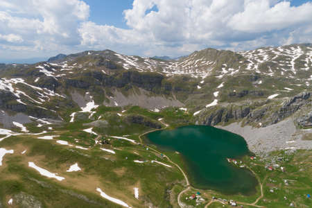 Kapetanovo lake in Montenegro in the spring, aerial view Banque d'images