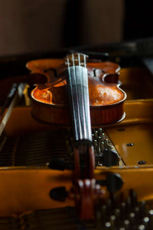 violin in vintage style on wood background close up, classical music concert