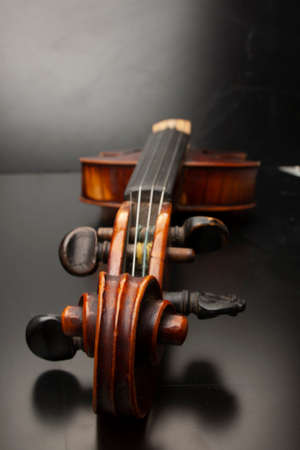Violin close up isolated on black background Limited depth of field Banco de Imagens
