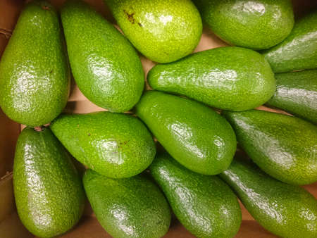Beautiful and fresh avocado on a shelf in a supermarket. Close-up