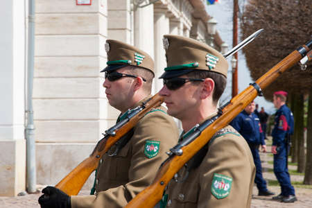 Budapest, Hungary - April 5, 2018: Members of the Hungarian Honor Guard Genre