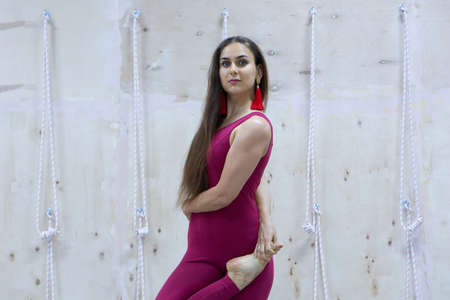 Young woman practicing yoga vrikshasana in gym. Yoga concept. Portrait Stock Photo