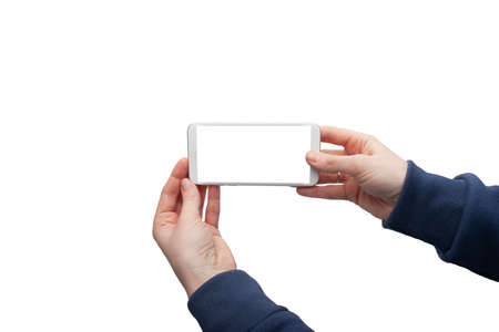 Touch screen smartphone in a hand Isolated image Close-up
