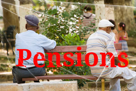 The text Pensions on the broken glass. The concept of increasing pensions Background