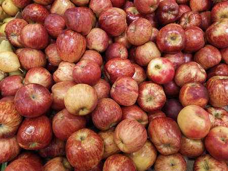 Group of red apples with their leaves. Close-up