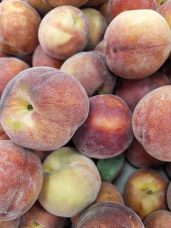 Fresh Organic Peaches Heap Of Fresh Ripe Peaches At A Turkish Street Market. Close-up