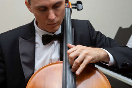 Musicians of the symphony orchestra. Cellist in concert costume. Portrait.