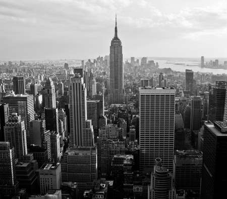 View of downtown Manhattan from atop a skyscraper, New York City.