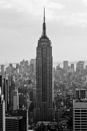 empire state building: View of downtown Manhattan from atop a skyscraper, New York City.