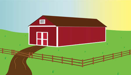 red barn: Country barn and fence with sun rising behind.