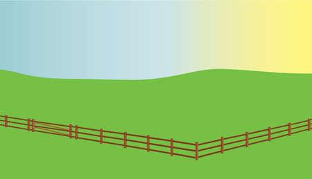 内紛フィールドと背後に昇る太陽のフェンス。  イラスト・ベクター素材