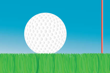 Golf ball on green, with flagstick in the background.