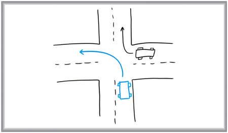 Whiteboard marker en tekening van een weg kruising. Stockfoto - 4596520