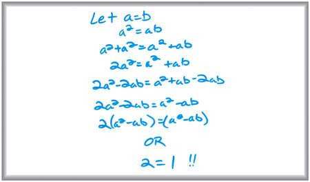 White board en markerings teken van een valse math bewijs.  Stockfoto - 4596526
