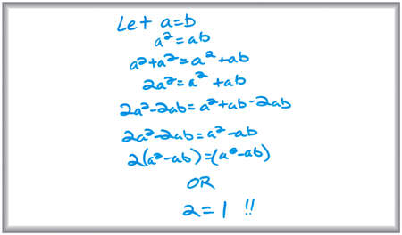 Whiteboard and marker drawing of a false math proof. Stok Fotoğraf