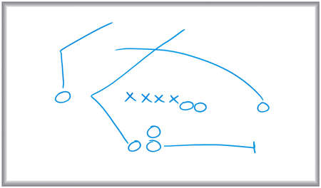 Whiteboard and marker drawing of a sports play diagram.