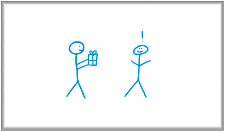 Whiteboard and marker drawing of two stick figures giving/receiving a gift. Stockfoto
