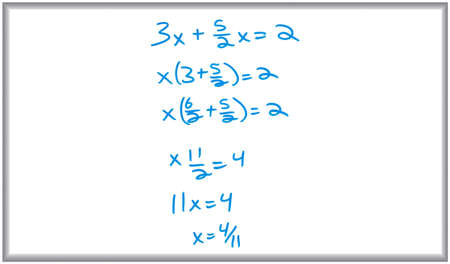 Whiteboard and marker drawing of an algebra problem. Stockfoto
