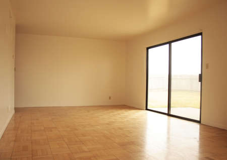 View of an empty living room. photo