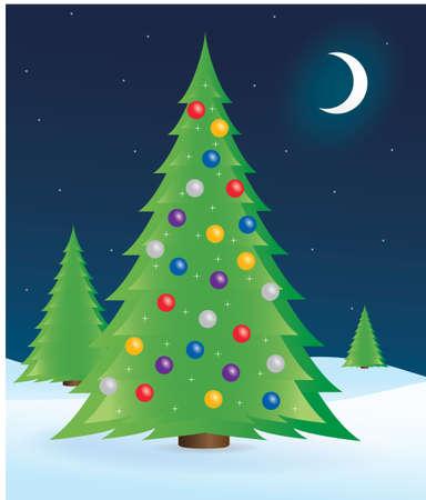 Kerst boom op besneeuwde winter gebied.  Stockfoto - 7618571