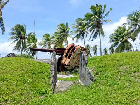 Rusty Anti-aircraft Gun Stockfoto