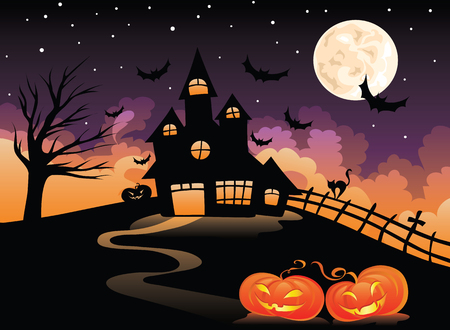 boom halloween: spookachtige huis Stock Illustratie