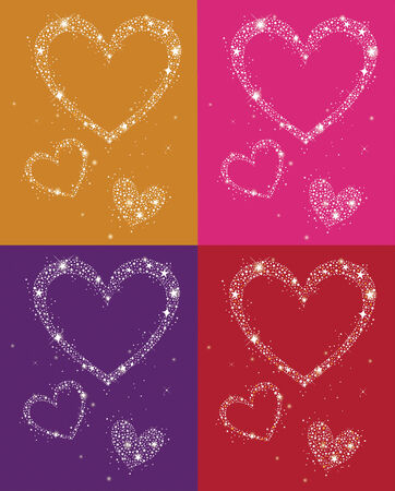 glowing hearts Vector