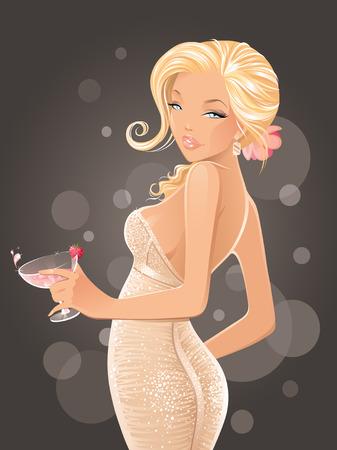 celebrities: Sexy vrouw met cocktail Stock Illustratie
