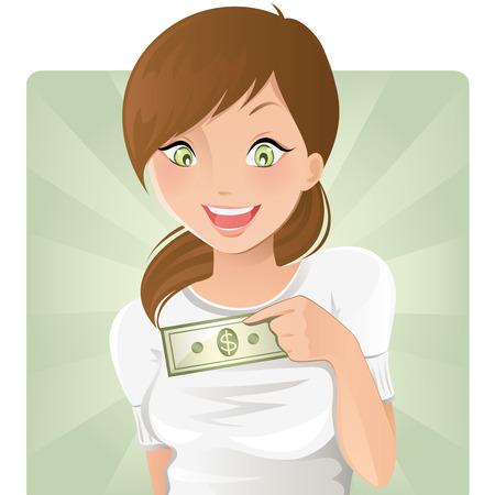 salaires: Fille avec de l'argent
