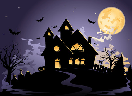 Spooky House at Halloweens night Vector
