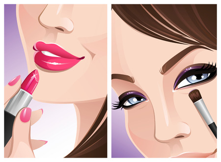 make up brush: Close-up maquillaje Vectores