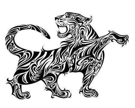 isolated tiger: Illustrazione di tigre  Vettoriali